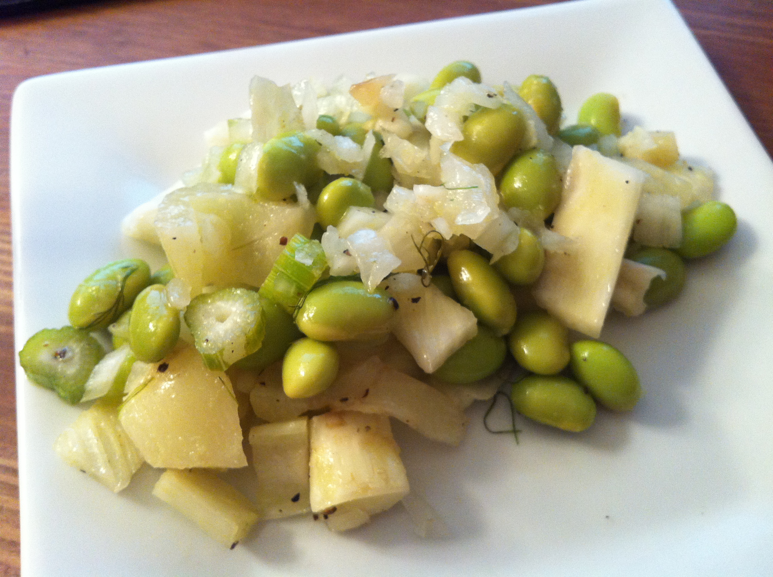 Fennel, edamame, and onion salad