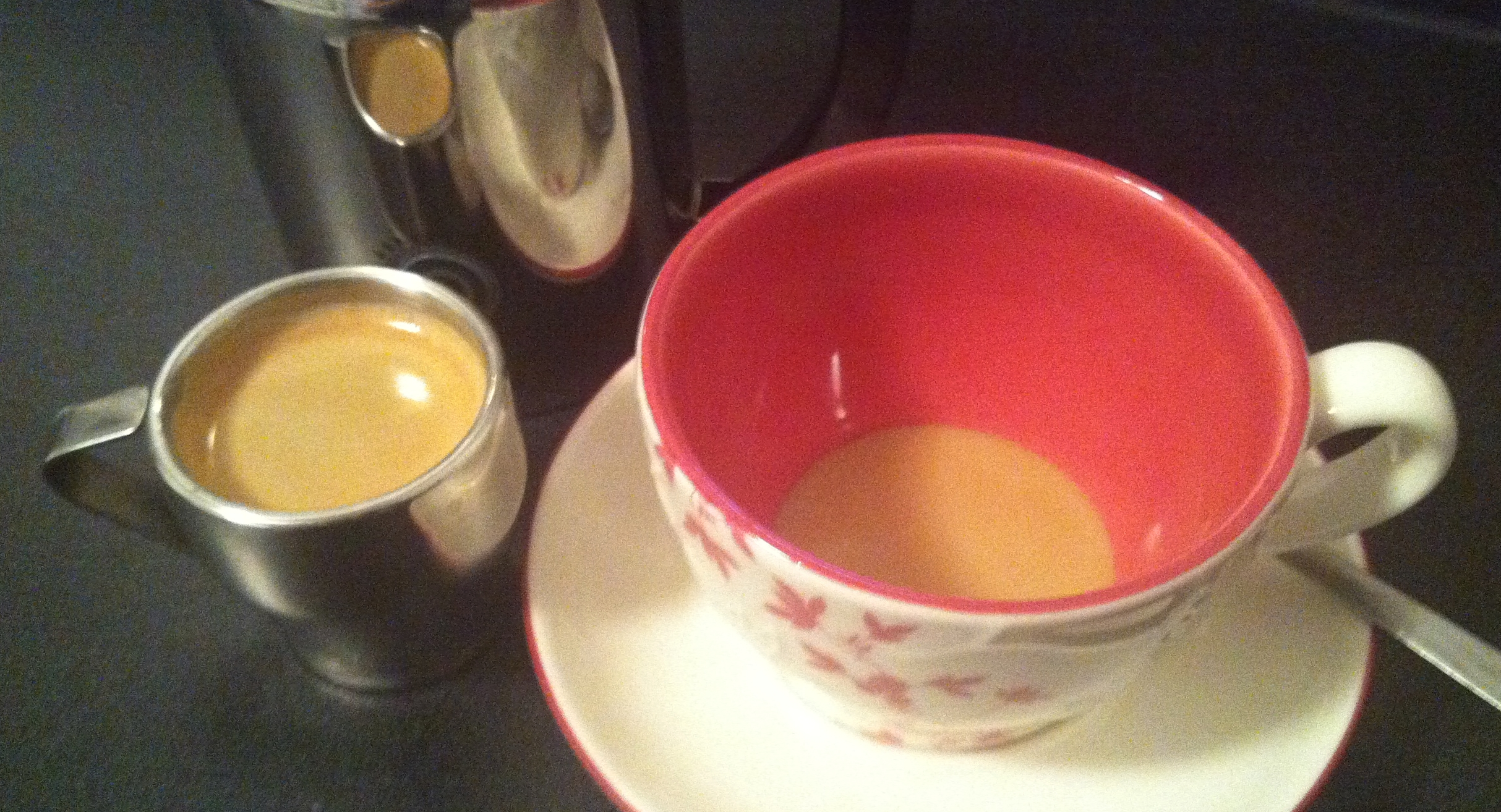 A teaspoon of the syrup in the mug, add a shot of espresso, add frothed milk