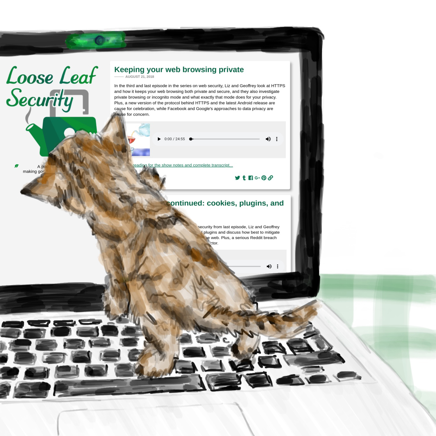 A striped kitten walking on a laptop keyboard, the laptop has tape over the webcam and Loose Leaf Security's homepage on the screen