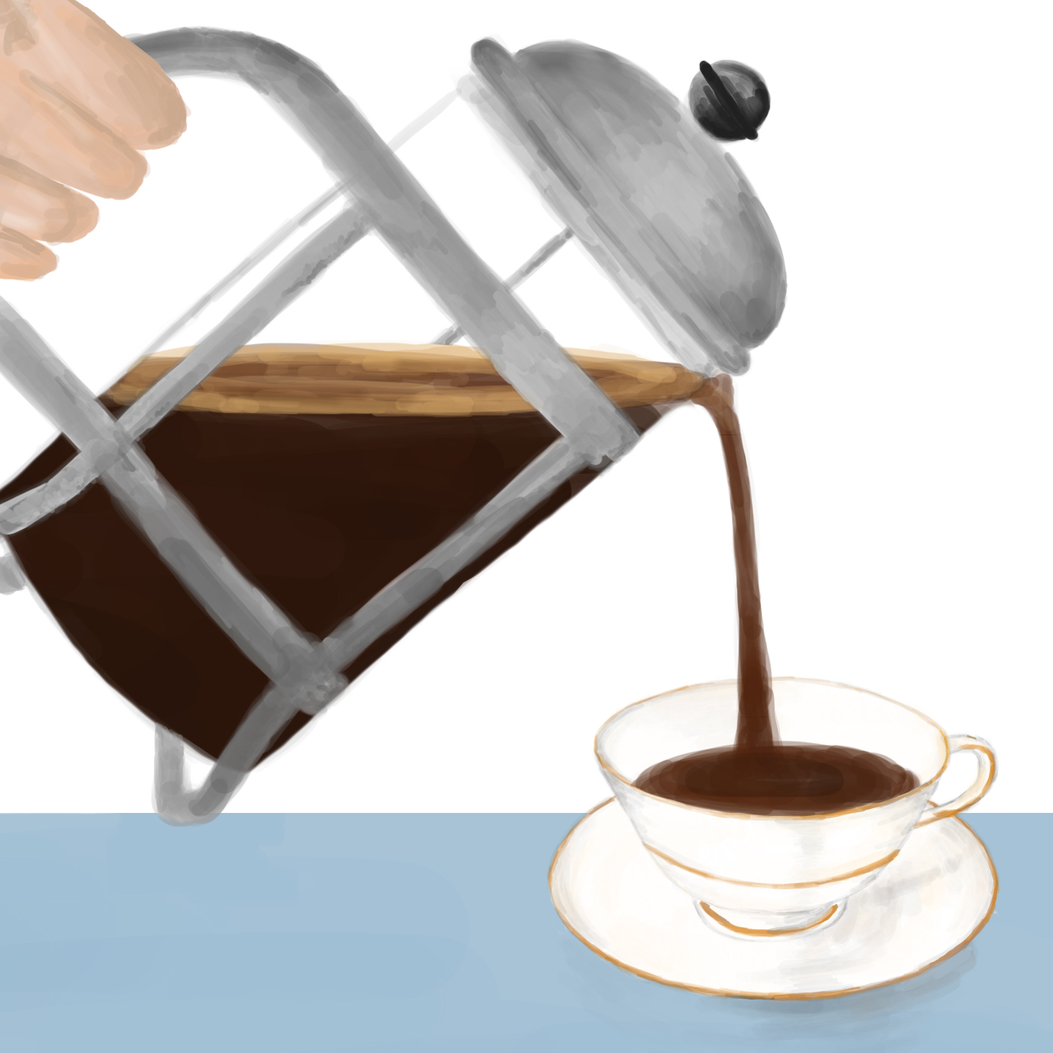French press coffee being poured into a teacup
