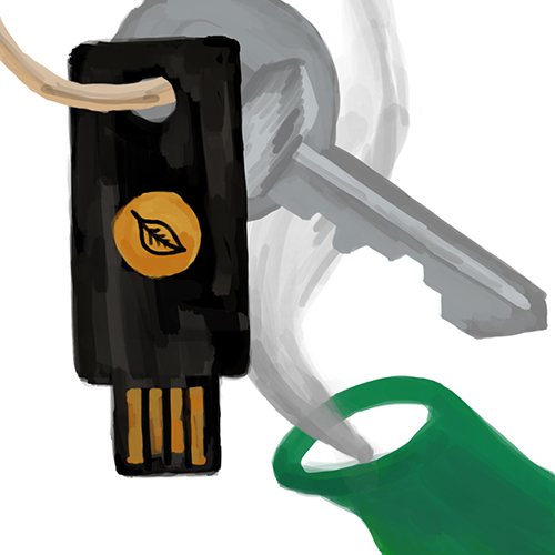 A hardware security key with a leaf logo on a keychain near the spout of a steaming pot of tea