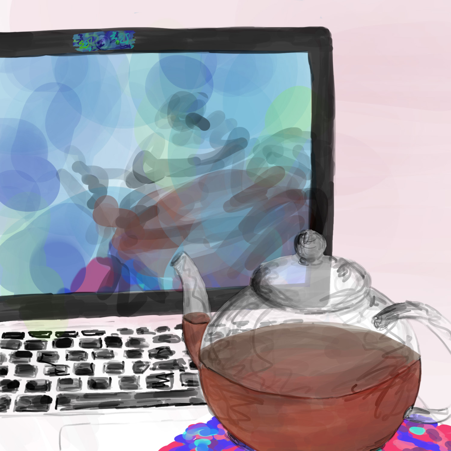 A teapot by a laptop with its webcam on, but the image of the teapot is relatively obscured on the screen because the webcam is covered by a piece of translucent tape