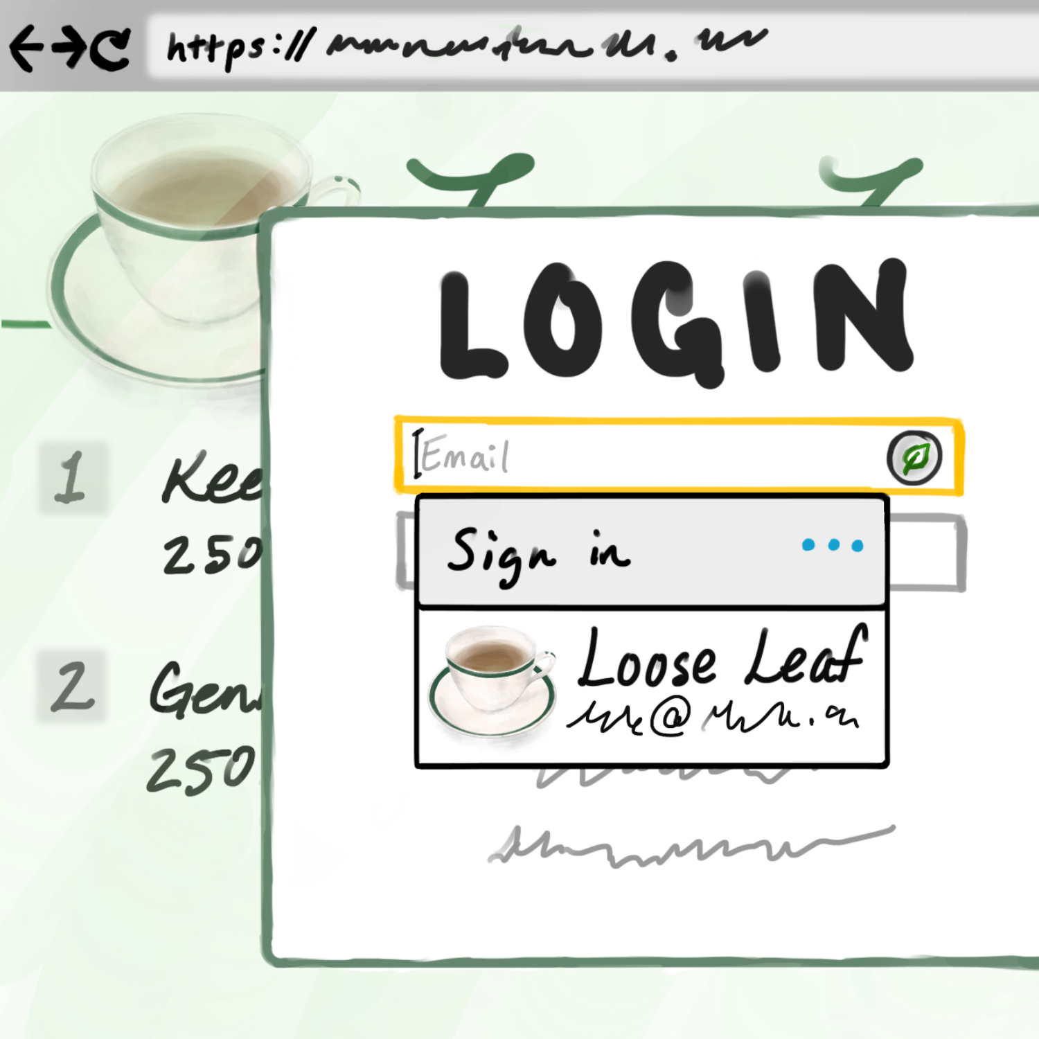 A password manager autofilling for a login screen for a website listed in the password manager as 'Loose Leaf'