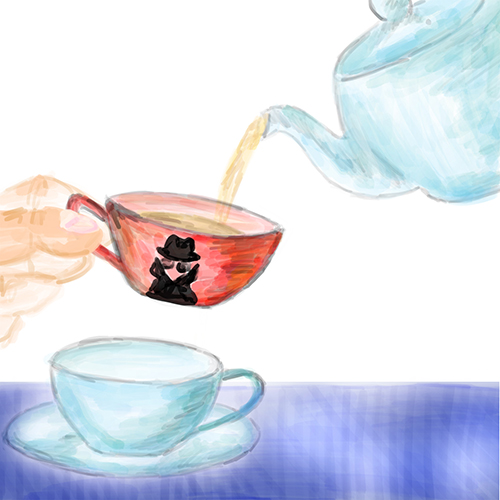 A red teacup with a man-in-the-middle design on it intercepts tea pouring from a teapot into a teacup placed on the table