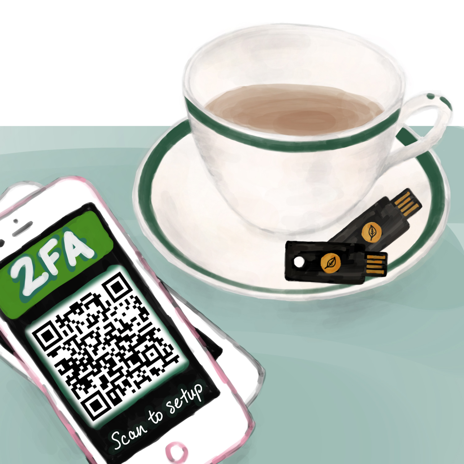 A teacup with two security keys on the saucer and a stack of two-phones, the top phone showing a QR code for setting up two-factor authentication