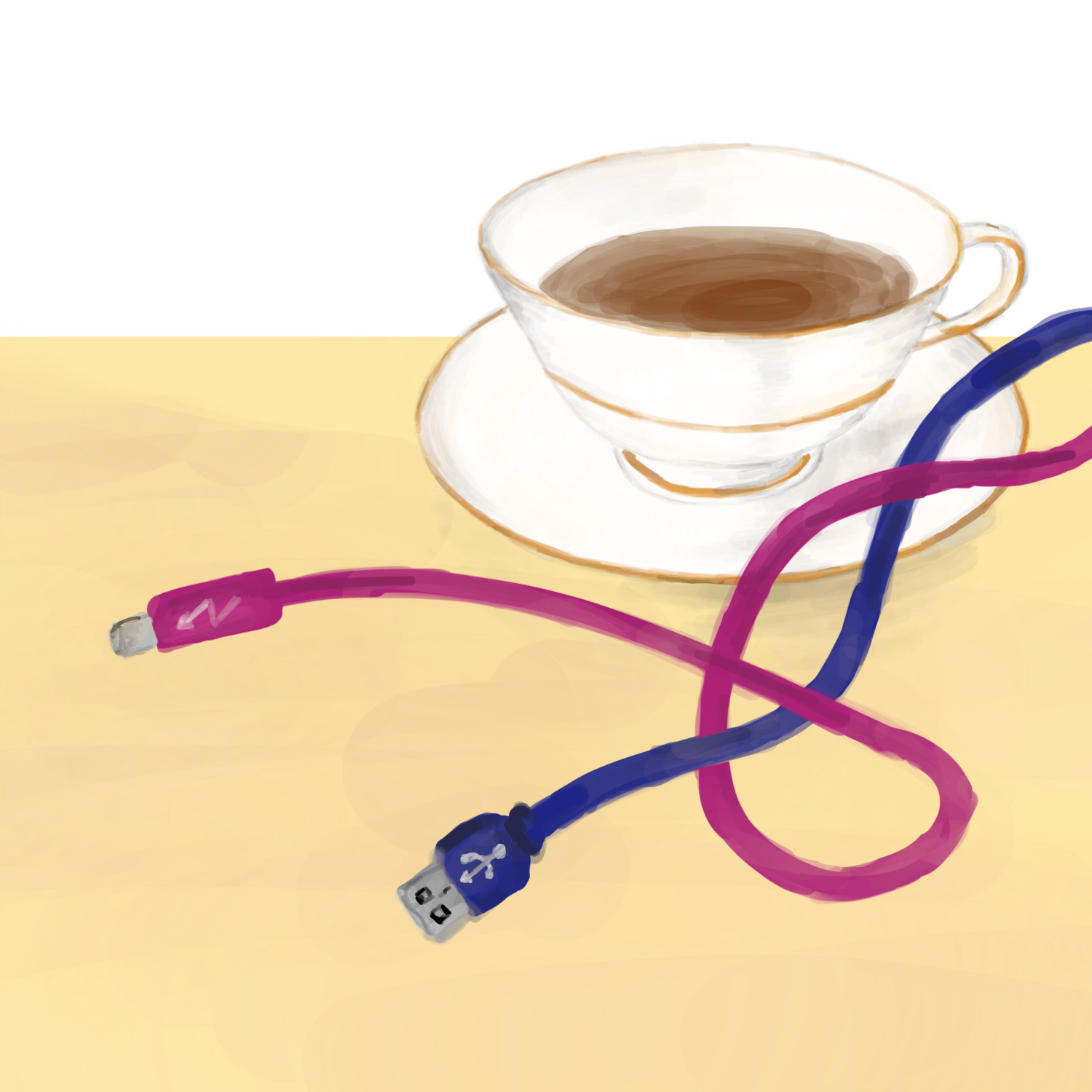 A teacup, a USB cable, and a Thunderbolt cable