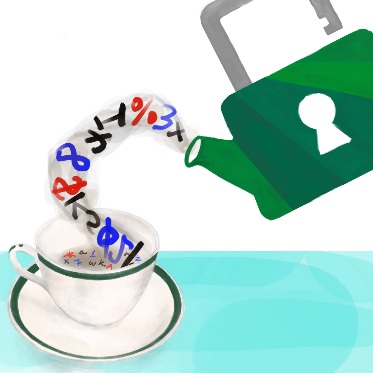 A Loose Leaf Security logo teapot pouring a strong password string into a teacup