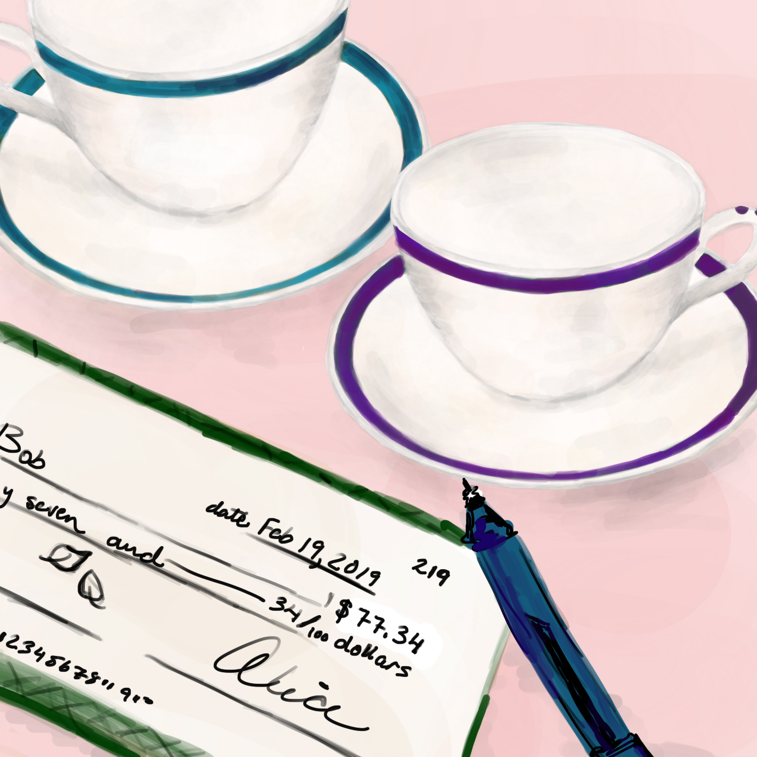 Two teacups near a check that has just been filled out