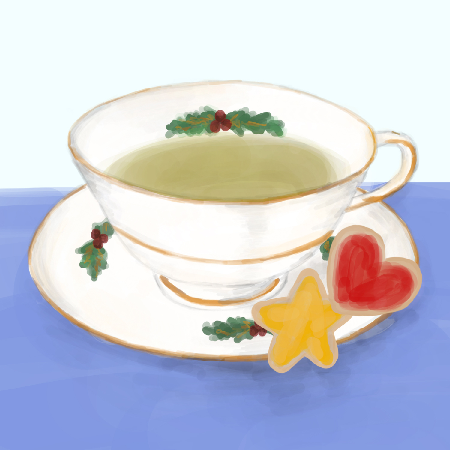A holiday teacup with green tea in it with star and heart frosted sugar cookies resting on the saucer