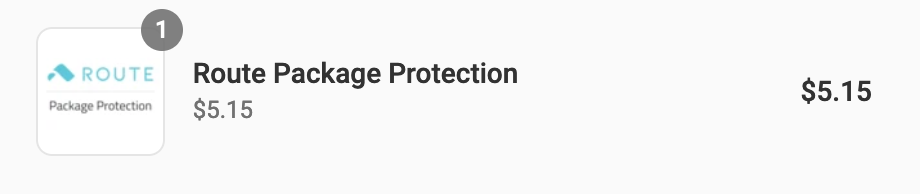 Route Package Protection item in cart for $5.15