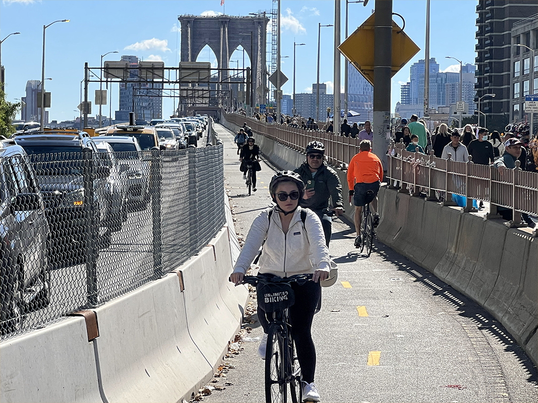 The Brooklyn Bridge's new two-way bike path