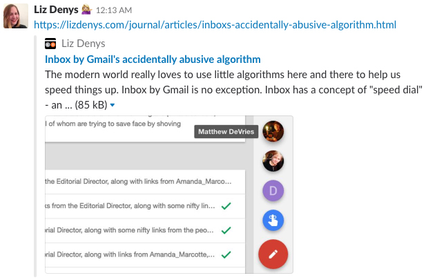Slack preview for Inbox by Gmail's speed dial with Open Graph information including an image, title, and description