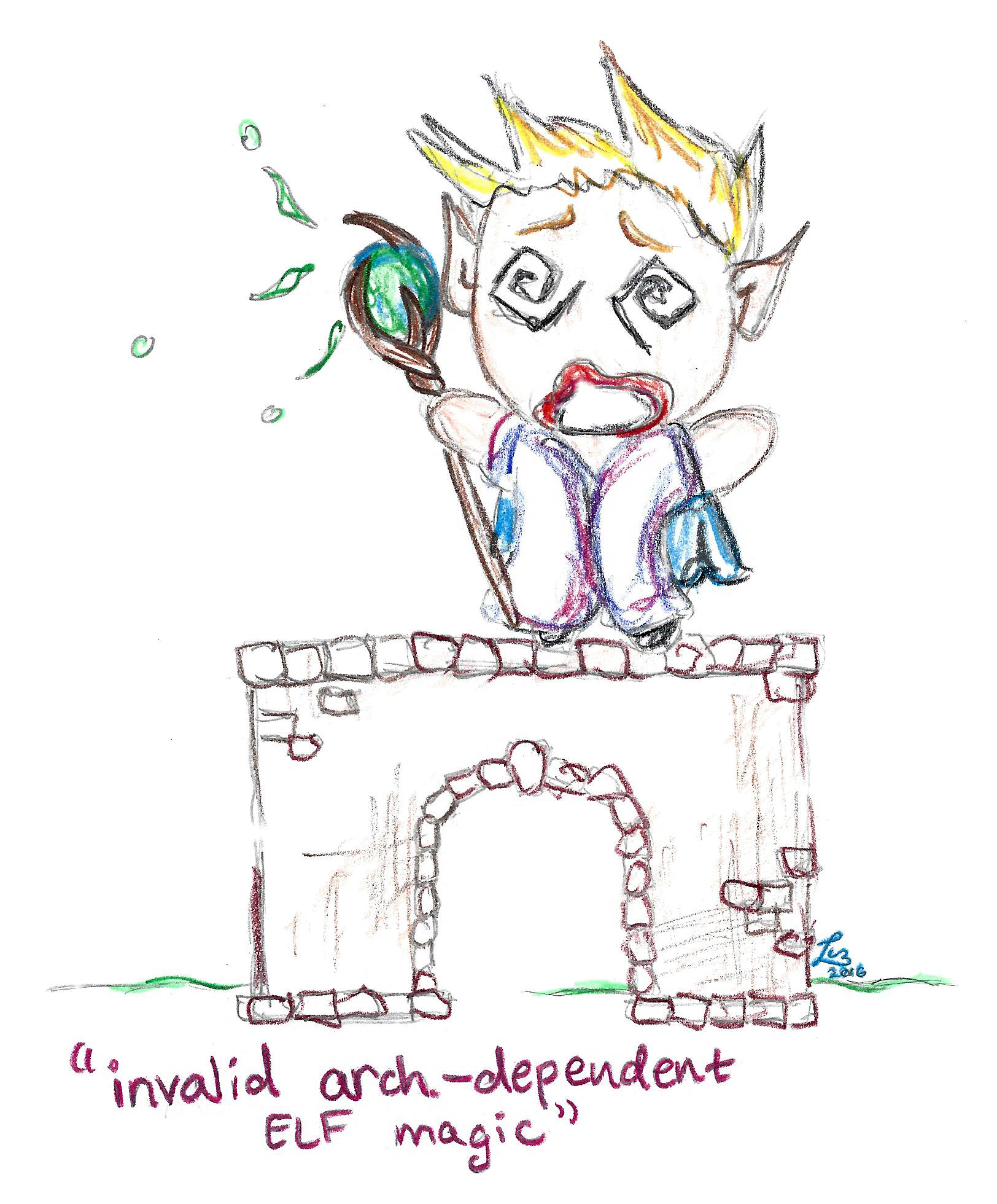 An elf stands on an arch, attempts to cast a spell, and freaks out when he is unable to cast it.