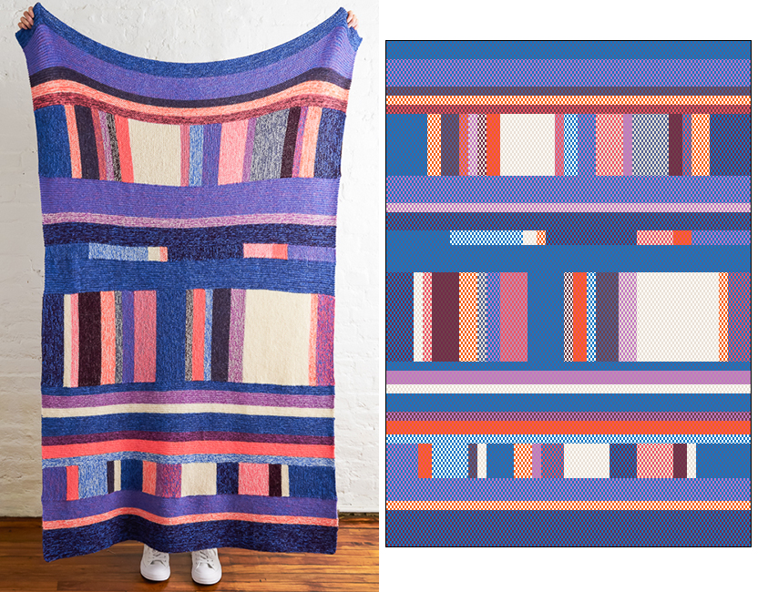 Side by side view of the Library Blanket and my rendering in the original color scheme given in the pattern